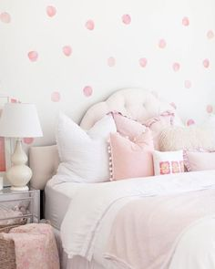 Watercolor Polka Dots Wall Decals – The Project Nursery Shop – 4 - Modern Pink Bedroom For Girls, Girl Bedroom Walls, Big Girl Bedrooms, Pink Room, Little Girl Rooms, Bedroom Decor, Toddler Girl Rooms, Baby Girl Bedroom Ideas, Baby Room