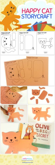 Happy Cat Craft Template Available. Perfect craft for Tor Freeman's picture book: Olive and the Big Secret. Visit craftypammy.com for this and other craft templates.