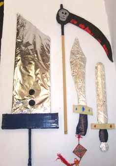 four cardboard swords