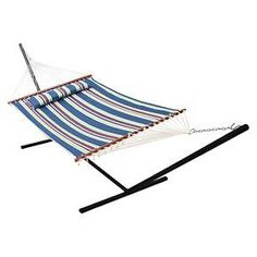 """Relax in your backyard or patio with this Nantucket Reversible Double Quilted Hammock. Featuring a hammock bed made of custom quilted cotton fabric with 150 gr poly fill for a softer feel and lasting durability, this hammock fits all standard double hammock stands. The reversible design allows the solid blue or striped design to be displayed. The sturdy 1/4"""" three ply twisted rope connecting the hammock to the hanging chain is handwoven and tied by a professional craftsman. In..."""