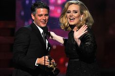 Adele and producer Paul Epworth accepted the award for Song of the Year at the 2012 Grammys.