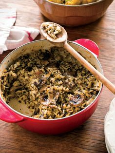 wild rice casserole with mushrooms, Linton Hopkins. Looks divine and perfect for this time of year!