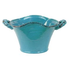 Urban Trends Large Craquelure Distressed Stadium Shaped Tapered Tuscan Pot with Handles