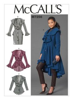 McCall's Misses' Ruffled Coats Sewing Pattern by DRCRosePatterns on Etsy Coat Pattern Sewing, Mccalls Sewing Patterns, Coat Patterns, Jacket Pattern, Dress Patterns, Paper Patterns, Pattern Dress, Clothes Patterns, Burda Patterns
