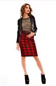 tartan skirt with black leather blazer holiday outfit