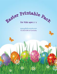 Easter Printable Pack for kids ages 2-7 with more than 80 activities covering shapes, colors, sizes, puzzles, fine motor skills, math, and literacy. #EasterPrintables || Gift of Curiosity