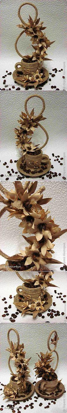 Ароматная чашечка кофе для поднятия настроения или продолжение следует | Страна Мастеров Coffee Bean Art, Coffee Cup Art, Diy Flowers, Fabric Flowers, Paper Flowers, Hobbies And Crafts, Diy And Crafts, Arts And Crafts, Teacup Crafts