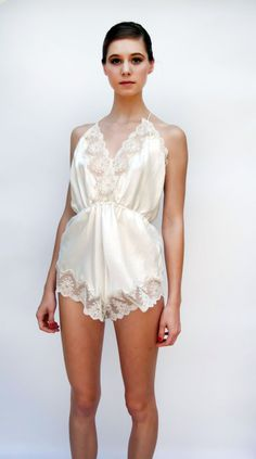 Vintage 1970s Lingerie - Angel - White Vintage Bridal Lace Edged Teddy Romper