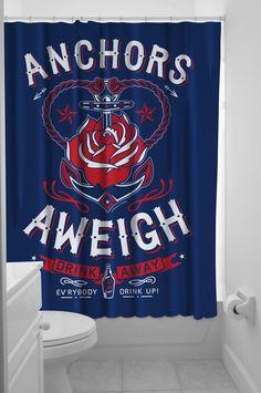 Sourpuss Anchors Aweigh Shower Curtain Tattoo Rockabilly Pin Up Nautical Sailor | eBay - tattoo sailor bathroom