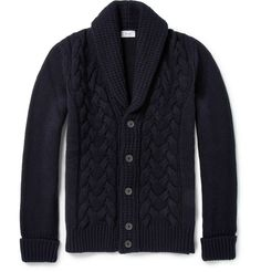 Faconnable - Cable Knit Wool and Cashmere-Blend Cardigan | MR PORTER
