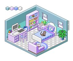 Pixel Art Interior Study by jesszet on DeviantArt Isometric Art, Isometric Design, Pixel Art Background, Art Kawaii, Pixel Art Games, Art Disney, Game Design, Cute Art, Art Tutorials