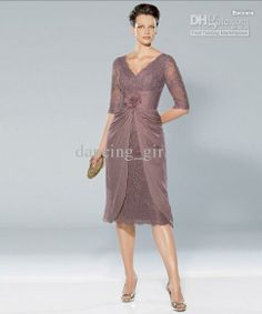 Wholesale Cheap Noble V-neck Lace Purple Knee length HandmadeFlower Mother of the bride dresses Wedding Dress, $89.6-103.45/Piece | DHgate