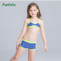 51fb7bb82f Funfeliz Children girl swimwear with skirt baby girl two pieces swimsuit  blue bathing suit Girls Bikini kids swimming suit-in Children's Two-Piece  Suits ...