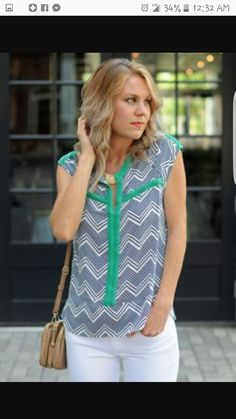 i like the chevron print with the green and the white pants. i would love to see something like this with a long cardigan and white skinny jeans or bootcut.