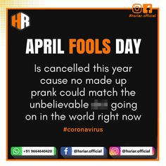 #HsRiar request you on this #AprilFoolDay no made up prank....!!!!  Follow us @hsriar_official  Contact us Email: hsriar.work@gmail.com Whatsapp: +91 9664640420  #hsriar #aprilfool #aprilfoolday #prank #socialpost #marketing #aprilfoolday2020 #socialmediamarketing #business #aware #betruth #covid19 #corona #coronavirus #india #vadodara #digitalmarketing #brand Social Media Marketing, Digital Marketing, April Fools Day, Pranks, Make Up, India, Business, Corona, Goa India