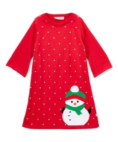 e35edacca1d Take a look at this Red Polka-Dot Snowman Dress - Infant, Toddler & Girls  today!