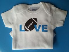 Football Onesie Football Onesie Baby Shower by MommaBeckysCrafts Baby Football Outfit, Baby Boy Football, Football Onesie, Boy Onesie, Football Football, Baby Boy Gifts, Baby Shower Gifts
