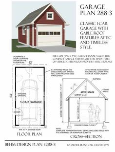 1 Car Garage Plan 288-3 by Behm Design