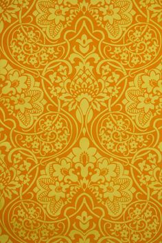 1970's Vintage Wallpaper Orange and Yellow by kitschykoocollage, $18.00 flocked!!!! flocked!!!!
