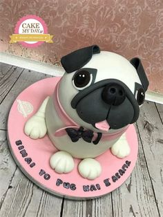 """Check out our web site for even more information on """"pug puppy"""". It is actually a superb spot for more information. Dog Cookies, Fancy Cookies, Mini Tortillas, Sweet Cakes, Cute Cakes, Cake Designs For Kids, Pug Cake, Dog Cake Topper, Easy Minecraft Cake"""