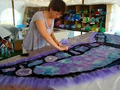 laying fiber and silk for a shawl