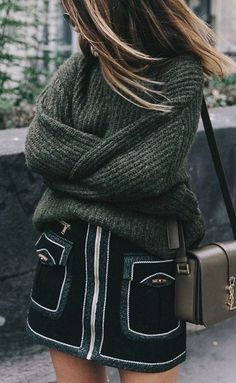 #fall #fashion / oversized green knit
