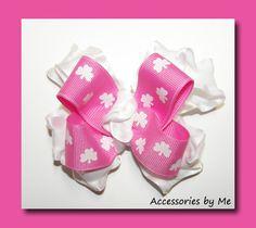 Hot Pink #Shamrocks Ruffle Baby Hair Bow