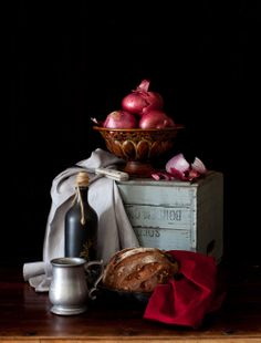 Still Life with Walnut Bread with Cherries
