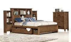 Hampton King Size Timber Bed ($2399) | Four underbed drawers, a bookcase headboard and matching bedside piers ($599 each). Sliding chest of drawers ($1299) Bedshed Oct 2013