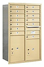 4C Horizontal Mailbox (Includes Master Commercial Locks) - 13 Door High Unit (48 Inches) - Double Column - 13 MB1 Doors / 1 PL5 and 1 PL6 - Sandstone - Rear Loading - Private Access by Salsbury Industries. $973.31. 4C Horizontal Mailbox (Includes Master Commercial Locks) - 13 Door High Unit (48 Inches) - Double Column - 13 MB1 Doors / 1 PL5 and 1 PL6 - Sandstone - Rear Loading - Private Access - Salsbury Industries - 820996414335