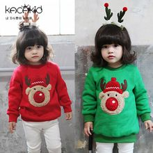 2016 new autumn winter baby hoodies & sweatshirts kids cartoon hoody cotton fleece warm Christmas cloth for boys and girls(China (Mainland))