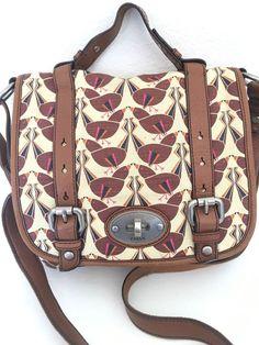 Fossil Messenger Crossbody Bag Leather Canvas Designer Fashion Hip Messengercrossbody