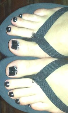 First attempt at toe nail art with rhinestones