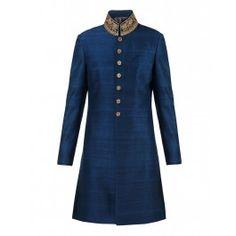 Blue Silk Sherwani
