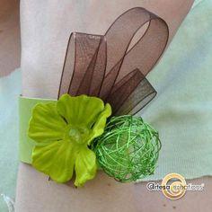 Bracelet Vert Anis ruban chocolat  http://www.artesa-creations.com/bijoux/1263-bracelet-vert-anis-ruban-chocolat.html    green wedding bangle