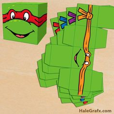FREE printable Ninja Turtle treat box set for Ninja Turtle party favors. Print, cut, fold and glue this free Ninja Turtle gift box and put goodies inside. Turtle Birthday Parties, Ninja Turtle Birthday, Ninja Turtle Party, Diy Birthday, Birthday Ideas, Ninja Party, Superhero Party, Ninja Turtles, Party Printables
