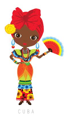 Cuba Travel Doll ~ by Veronica Alvarez Cultures Du Monde, World Cultures, Illustrations, Illustration Art, Arno Stern, Hispanic Heritage, Thinking Day, We Are The World, Folklore