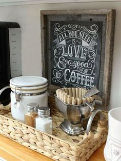 Organizing the Kitchen: Our New Coffee Station I love this coffee station! Organizing the Kitchen: Our New Coffee Station – Driven by Decor Cafe Bar, New Kitchen, Kitchen Dining, Kitchen Corner, Kitchen Ideas, Kitchen Small, Design Kitchen, Coffee Kitchen Decor, Space Kitchen