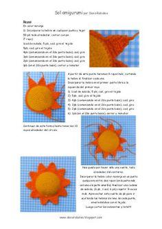Tutorial para tejer un sol amigurumi, con explicaciones y fotos paso a paso.