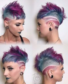 Medium length hair styles are the trend these days when it comes to men's looks. These styles are simple to create and give men suave and well groomed looks with a bit of flair. Girl Short Hair, Short Hair Cuts, Short Hair Styles, Mohawk Hairstyles, Pretty Hairstyles, Hairstyle Short, Haircuts, Pelo Multicolor, Corte Y Color