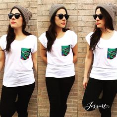 #cool #trendy & #artsy ! @mariayuniz rocking her #gandhi #handpainted #pocket #tshirt #sustainablefashion  /#jossart es un estilo de vida #moda