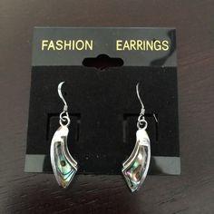 """ABALONE SHELL Dangly Earrings ABALONE SHELL Dangle Earrings.  Silvertone setting.  1-3/8"""". Jewelry Earrings"""
