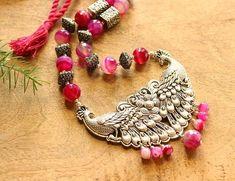 Gemstone Necklace, Necklace Set, Gemstone Beads, Pendant Necklace, Necklace Online, Handmade Beads, Peacock, Silver Earrings, Gemstones