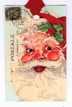 Vintage Tags  Christmas   Santa   Aqua  Tags  Red  by Bluebirdlane
