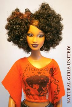 Curly Girl with Afro Glam Top. she's my favorite African Dolls, African American Dolls, Beautiful Barbie Dolls, Pretty Dolls, Diva Dolls, Dolls Dolls, Baby Dolls, Black Barbie, Barbie Collection