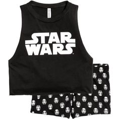 Pajama Tank Top and Shorts $17.99 ($15) ❤ liked on Polyvore featuring intimates, sleepwear, pajamas, star wars, short pajamas, cotton jersey, short pyjamas and short pajama set