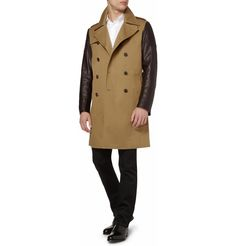 LEATHER-SLEEVED TRENCH COAT