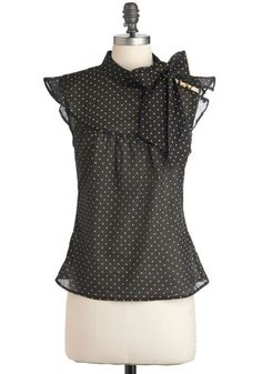 Pinpoint of View Top - Black, Polka Dots, Buttons, Tie Blouse, Cotton, Yellow, Work, Sleeveless