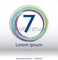 "cool color circle brush stroke ""7"" number logo"