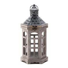 New Hex Top Wood Candle Lantern Lamp Candleholder Centerpiece Patina Metal Lid #Unbranded #ArtsCraftsMissionStyle